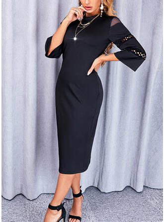 Solid 3/4 Sleeves Sheath Little Black/Elegant Midi Dresses