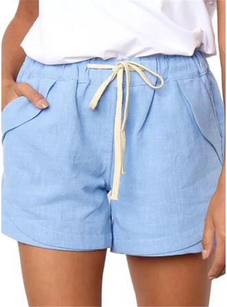 Pockets Shirred Above Knee Casual Sexy Skinny Shorts