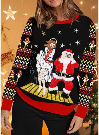 Mulheres Estampado Listra Papai Noel Camisola de Natal Feio