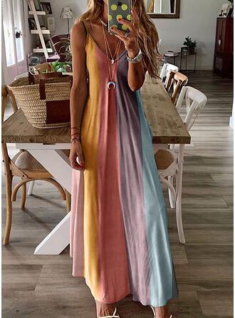 Estampado/Colorido Sem mangas Vestido linha-A Alça fina/Skatista Casual/férias Maxi Vestidos