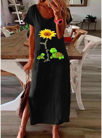 Sunflower Print Short Sleeves Shift T-shirt Casual Maxi Dresses