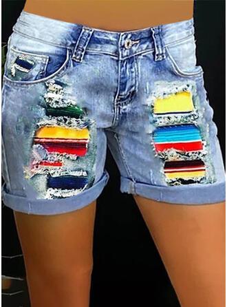 Bloc de Couleur Imprimé Treillis Au-dessus du genou Décontractée Grande taille Couture Poche Boutons Pantalon Short Jeans