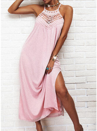Solid Lace Sleeveless Shift Slip Casual Maxi Dresses