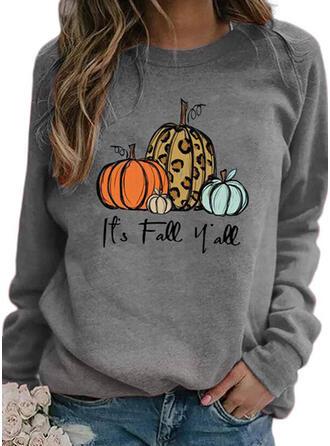 Halloween Print Leopard Letter Round Neck Long Sleeves Sweatshirt