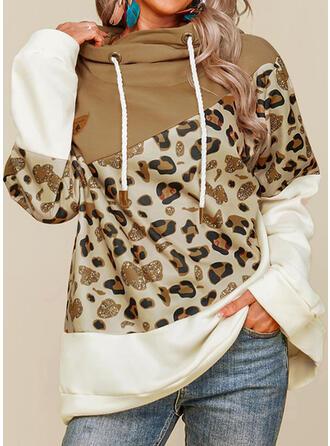 Leopardo Capucha Manga Larga Sudadera Con Capucha
