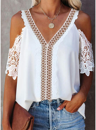 Solid Lace Hollow-out Cold Shoulder 1/2 Sleeves Elegant Blouses