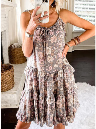 Floral Sleeveless A-line Above Knee Vacation/Cute Dresses