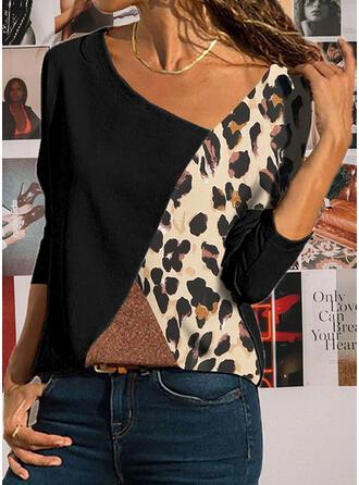 Color Block Leopard Asymmetrical Long Sleeves Casual Blouses