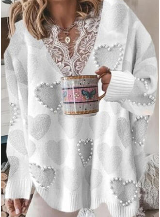 Print Heart Lace V-Neck Casual Sweaters