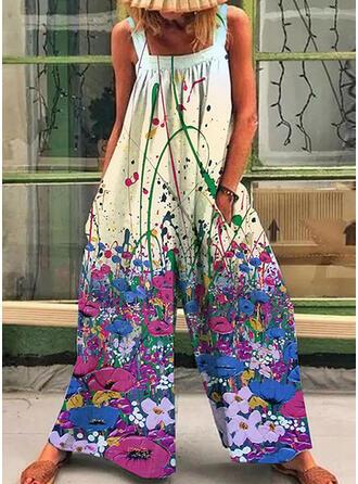 Print Strap Sleeveless Casual Boho Vacation Jumpsuit