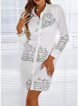 Estampado/Carta Manga Comprida Bainha Acima do Joelho Casual Camisa Vestidos