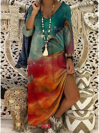 Print 3/4 Sleeves Shift Casual Midi Dresses