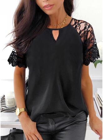 Solid Chiffon Lace Round Neck Short Sleeves Raglan Sleeve Elegant Blouses