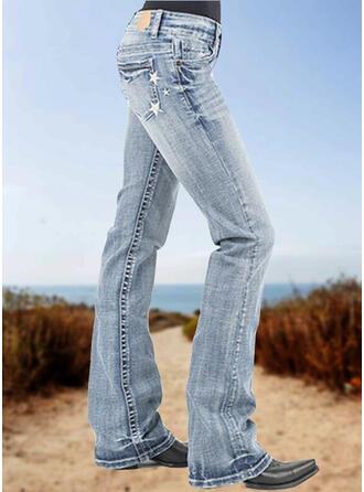 Embroidery Plus Size Solid Denim Denim & Jeans