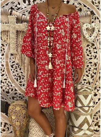 Print/Floral/Tassel Long Sleeves Shift Above Knee Casual Tunic Dresses
