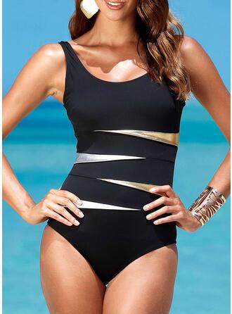 Stripe Print Strap U-Neck Sexy Plus Size One-piece Swimsuits