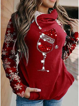 Christmas Print Sequins Long Sleeves Christmas Sweatshirt