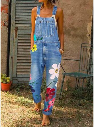 Floral Print Strap Sleeveless Casual Denim Jumpsuit