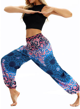 Print Floral Sports Pants