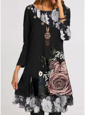 Print/Floral Long Sleeves Shift Knee Length Casual Tunic Dresses