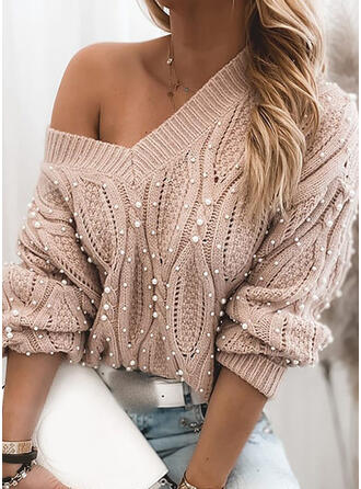 Solid Cable-knit Beaded V-Neck Casual Sweaters