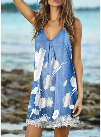 Lace/Print/Floral Sleeveless Shift Above Knee Casual/Vacation Slip Dresses