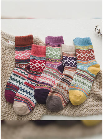 Floral/Striped/Bohemia/Colorful Warm/Breathable/Crew Socks/Unisex Socks (Set of 5 pairs)