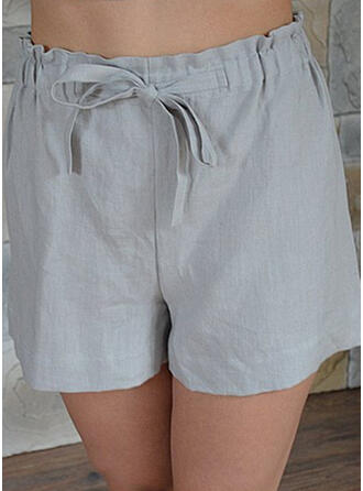 Plus Size Drawstring Casual Plain Shorts