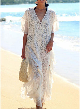 Lace/Solid/Tassel/Lace-up 1/2 Sleeves Shift Casual/Vacation Maxi Dresses