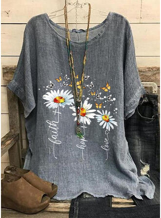 Animal Print Floral Letter Round Neck Short Sleeves T-shirts