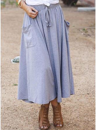 Polyester Plain Mid-Calf A-Line Skirts