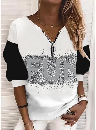 Color Block Letter V-Neck Long Sleeves Sweatshirt