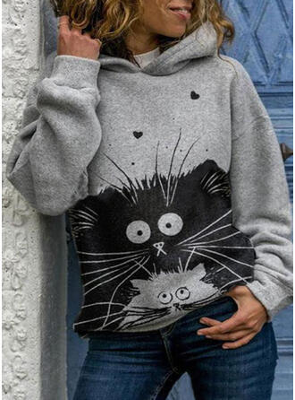 Print Heart Animal Hooded Long Sleeves Hoodie