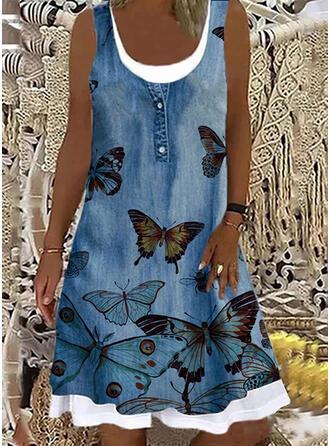 Print/Animal Sleeveless Shift Knee Length Casual Dresses