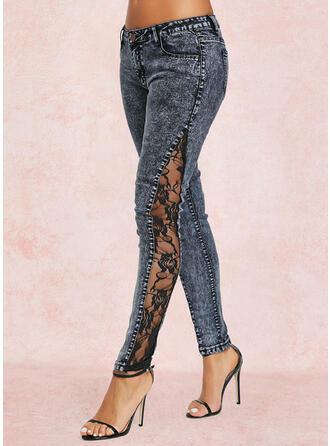 Couleur Unie Treillis Longue Décontractée Couture Jeans