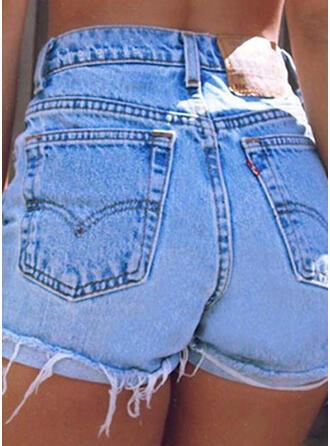 Pockets Tassel Solid Denim Shorts