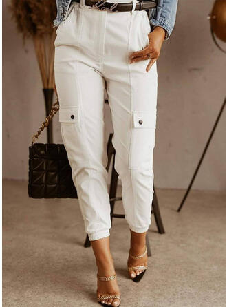 Solid Long Plus Size Office/Business Pocket Button Pants