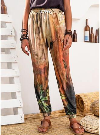 Imprimé Longue Décontractée Sportif Cordon Pantalon