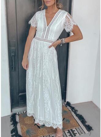 Lace Short Sleeves Party/Elegant Midi Dresses