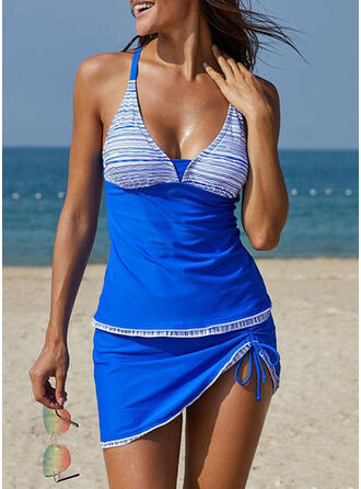 Splice color V-Neck Strapless Plus Size Casual Tankinis Swimsuits