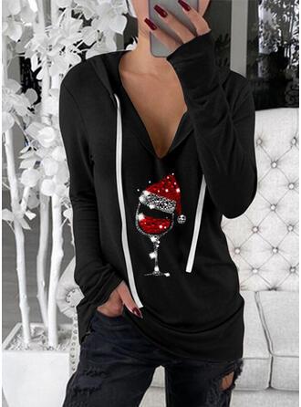 Christmas Sequins Hooded Long Sleeves Christmas Sweatshirt