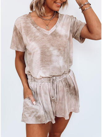Tie Dye Casual Tee & Two-Piece Outfits Set