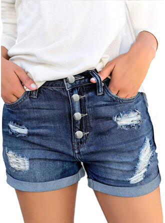 Couleur Unie Au-dessus du genou Décontractée Ancien Grande taille Poche Bourré déchiré Boutons Pantalon Short Jeans