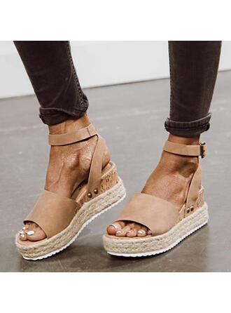 Femmes Suède Talon compensé Sandales Plateforme Compensée À bout ouvert avec Boucle Couleur unie chaussures
