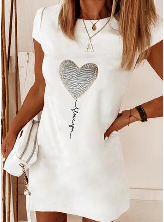 Estampado/Coração/Carta Manga Curta Vestidos soltos Acima do Joelho Elegante T-shirt Vestidos