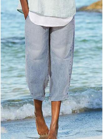 Solid Capris Casual Plus Size Pants Denim & Jeans