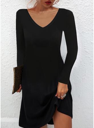 Sólido Manga Larga Vestidos sueltos Sobre la Rodilla Pequeños Negros/Casual Túnica Vestidos