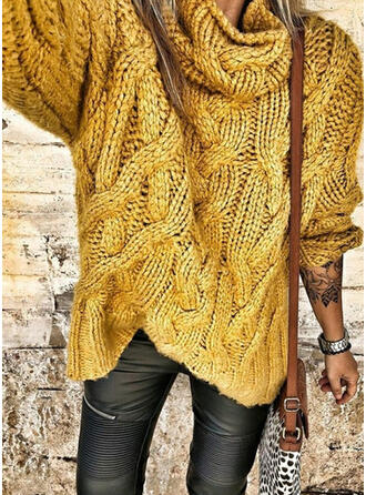 Solid Cable-knit High Neck Casual Sweaters