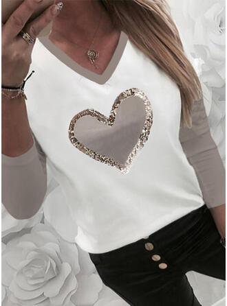 Bloc de Couleur Cœur Imprimé Paillettes Col V Manches Longues T-shirts