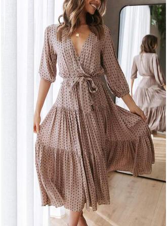 PolkaDot 1/2 Sleeves Puff Sleeve Floor Length Elegant Dresses